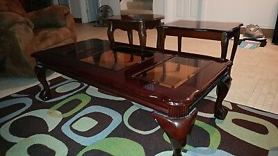 Cherry Finish French Provincial Coffee Table and End Tables.