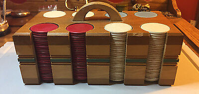 Antique Clay Poker Chips-50 Red, 50 Blue, 100 White-Wood Art Deco Caddy w/ Lid!