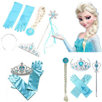 Frozen Snow Queen Elsa Princess Crown & Hair Piece & Wand Gloves Set Girls Kids