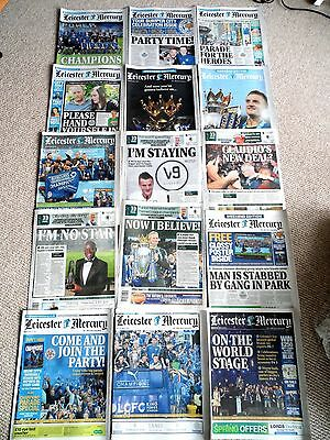 COMPLETE STORY ! 15 x LEICESTER MERCURY MAY 3-18 FRONT PAGES CHAMPIONS City LCFC