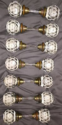 Antique Door Knobs large Clear cut Crystal  7 Pair RARE