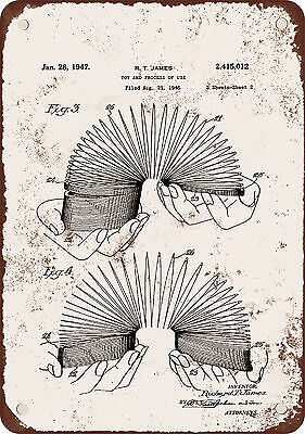 """7"""" x 10"""" Metal Sign - 1947 Slinky Patent - Vintage Look Reproduction"""