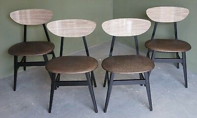 Retro G Plan Gomme Ebonized Danish Butterfly Style Set Of Dining Chairs
