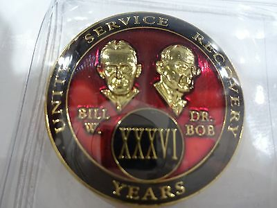AA Bill&Bob Red Gold 36 Year Coin Tri-Plate Alcoholics Anonymous Medallion+Stand