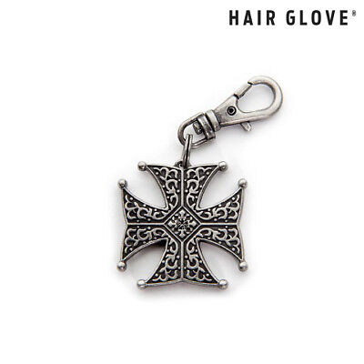 Hair Glove® Biker Zipper Pull Charm, Antique Silver Iron Cross w/Gem, 61010