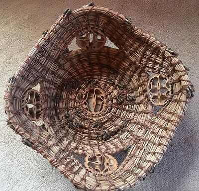 """Handmade Pine Needle Basket Decorated with 5 Walnut Cross Sections 8"""" x 8"""" x 3"""""""