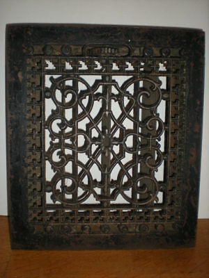 Antique Cast Iron Floor Register Ornate Grate & Louvers Heat & Cold Air vent n1