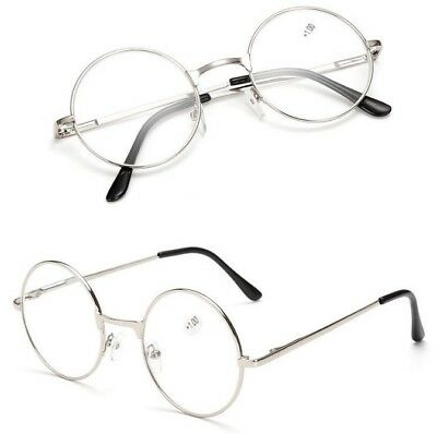 Magnifying Reading Glasses Round Silver Frame Mens Ladies   +1.50 +2.50 +3.00 +3