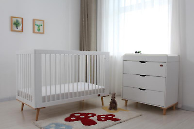 Baby Cot Package - Cot/Crib,Chest Of Drawer , Baby Mat & Mattress