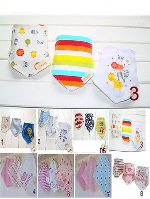 3pcs Bandana Triangle Dribble Baby/Kids/Toddler Bibs.Boys/Girls.100% Cotton.