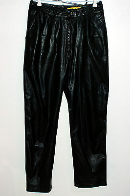 Vintage F.J. Men's Black Leather Pants Trousers Size 34 Made in Melbourne