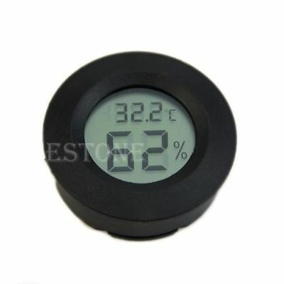 hot selling!Digital Cigar Humidor Hygrometer Thermometer Round Black Face Black