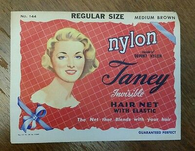 VINTAGE Taney Dupont Nylon Invisible  Hair Net 1950's-1960's.  New in package