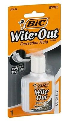 2 Pack LOT NEW Bic White Out Correction Fluid Foam Brush 0.70 Ounces