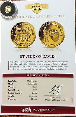 2007 Statue of David .9999 gold 1500 francs Benin