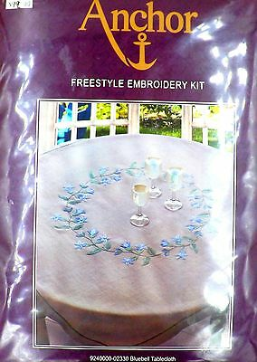 Linen Tablecloth Bluebell -Taupev Embroidery Complete Sewing Kit Anchor Coats