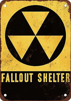 """7"""" x 10"""" Metal Sign - Fallout Shelter - Vintage Look Reproduction"""