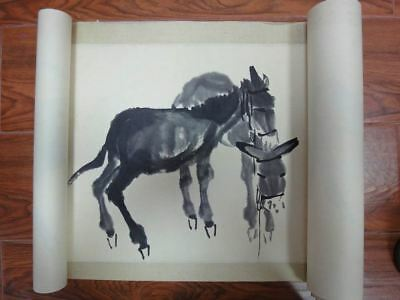 "Rare Long Old Chinese Scroll Hand Painting Donkeys ""HuangZhou"" Marks QA116"