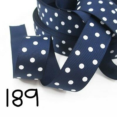 Grosgrain Ribbon Dots on Navy (1m, 2m or 5m)
