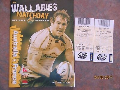 Rugby union program Australia vs France 2008 plus ticket stubbs