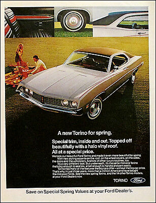 1971 FORD TORINO Vintage Automobile Car Family Picnic Print Ad