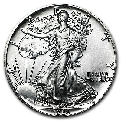 1989 1 oz Silver American Eagle Coin (BU) with Light Toning