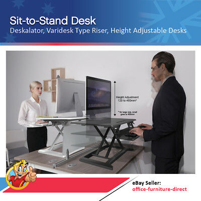 Sit Stand Desk, Deskalator, Varidesk Type Riser, Height Adjustable Desks