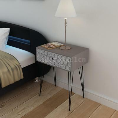 Rectangular Bedside Cabinet with 1 Drawer Grey O5A3