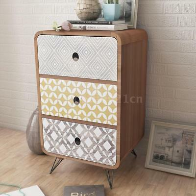 Side Cabinet Nightstand Telephone desk Bedroom Cabinet with 3 Drawers Brown