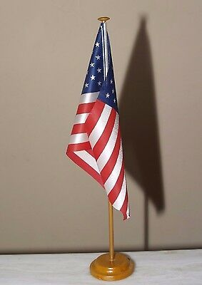 American Table Flag 29 x 21 cm MADE IN USA with Wooden Base