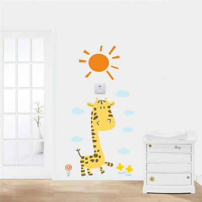 Cute Cartoon Giraffe Sun Sky Cloud Wall Sticker | Baby Children Room Decor Decal