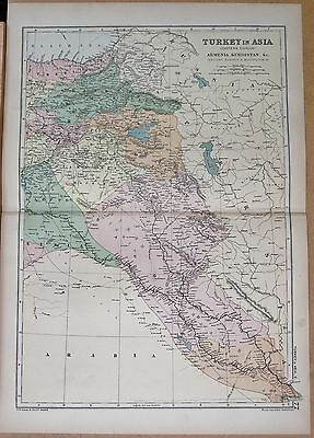 1890 Large Victorian Map - Turkey In Asia Eastern, Armenia Kurdistan