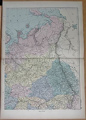 1890 LARGE Victorian Map Italy North West Piedmont Liguria