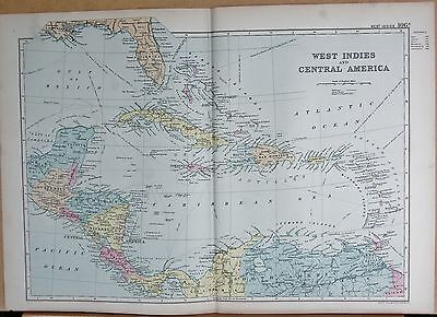 1890 Large Victorian Map - West Indies And Central America