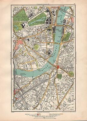 1936 Large Scale Map -  London  Westminster Lambeth Pimlico Kennington