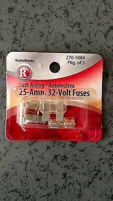 25 amp blade type ATC fuses for auto, new in package (3)