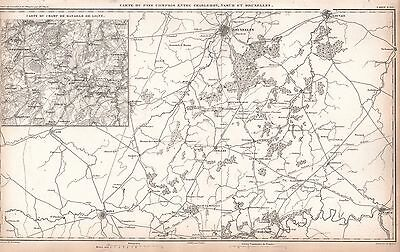 1859 Duvotenay Map-France Battle Of Ligny, Brussels, Mons, Namur, Louvais