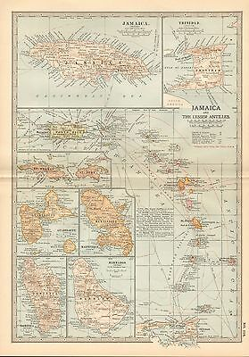 1903 Britannica Antique Map-Jamaica And The Lesser Antilles