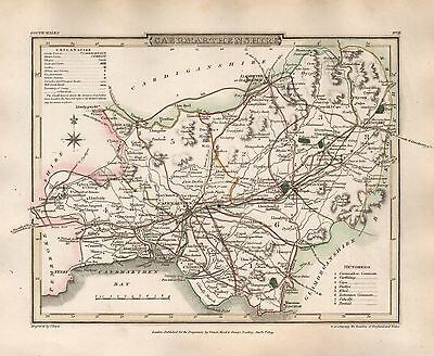 1816 County Map G Cole & J Roper : Caermarthenshire
