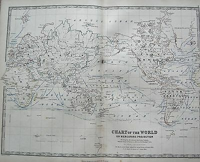 1868 Large Victorian Map : Chart Of The World On Mercators Projection