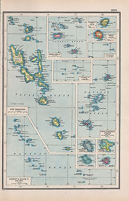 1920 Map -Post Ww1- British Islands In The Pacific