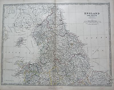 1868 Large Victorian Map : England And Wales Northern Sheet
