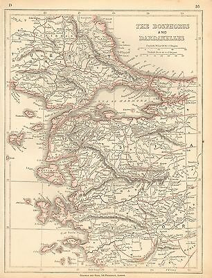 1853 Ca ANTIQUE MAP H/COL LOWRY-THE BOSPHORUS AND DARDANELLES
