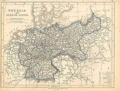 1853 Ca ANTIQUE MAP H/COL LOWRY-PRUSSIA AND GERMAN STATES