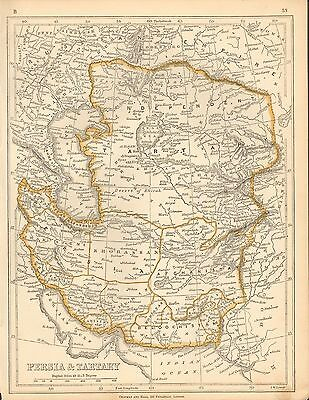 1853 Ca ANTIQUE MAP H/COL LOWRY-PERSIA & TARTARY