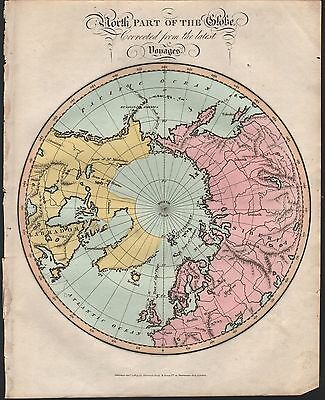 1809 Antique H/col Map - North Part Of The Globe Corrected Fromthe Latest Voyage