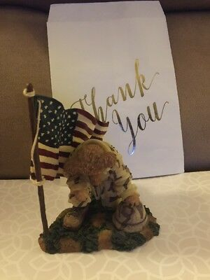 """Boyds Bears Bearstone 'Rooney' """"Proud to be an American """" Soldier Resin Bear New"""