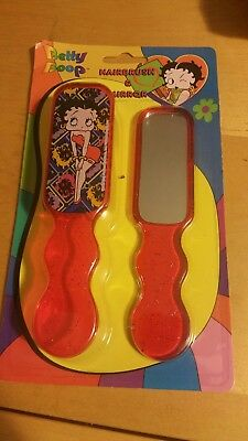 Betty Boop Hair Brush With Mirror Red