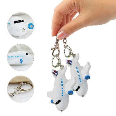 Mini Aircraft Airplane LED Light With Sound Key Chain Keyring Ring Torch Gift