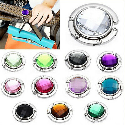 1* Foldable Folding Crystal Alloy Purse Handbag Hook Hanger Bag Holder Stands